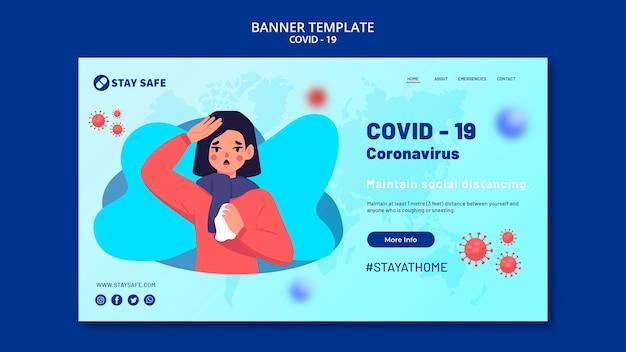 Coronavirus banner vorlage mit illustration Kostenlosen PSD