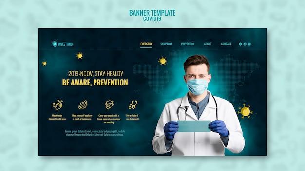 Coronavirus-banner-vorlagenstil Premium PSD
