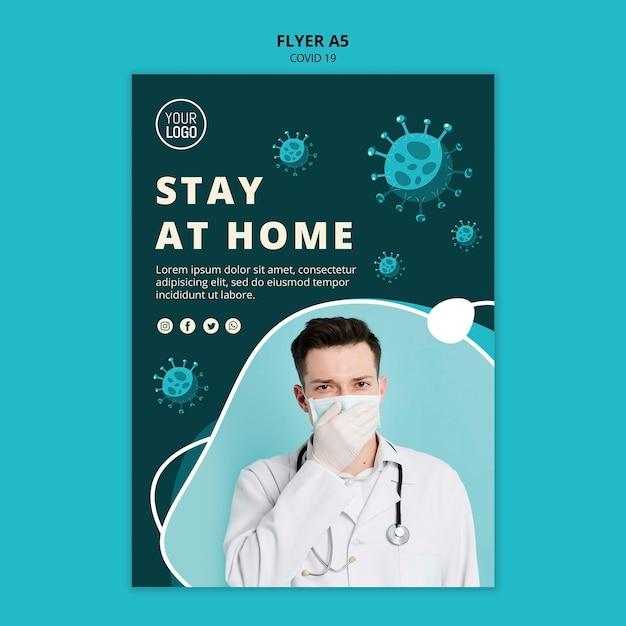 Coronavirus flyer vorlage mit foto Kostenlosen PSD