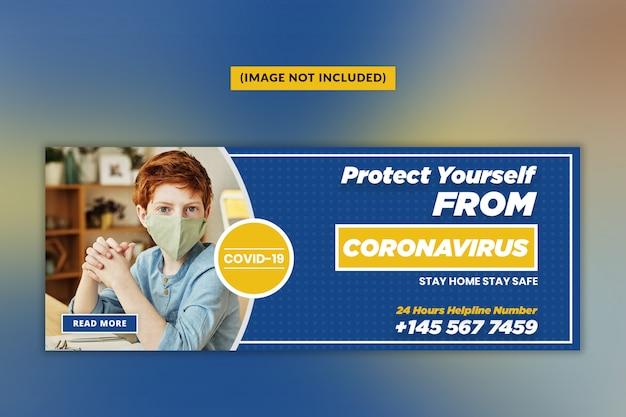 Coronavirus oder covid - 19 facebook-cover-vorlage Premium PSD