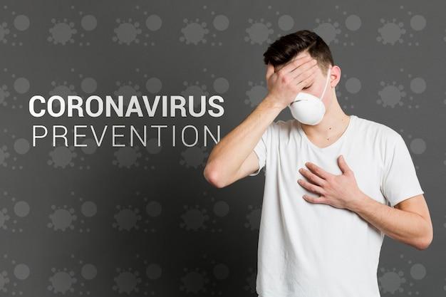 Coronavirus-prävention und mann mit maske Kostenlosen PSD