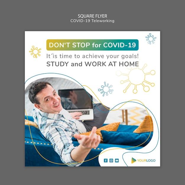 Coronavirus quadratische flyer vorlage mit foto Kostenlosen PSD