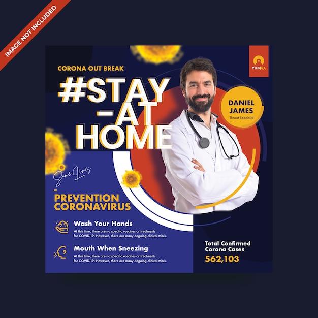 Coronavirus social media promo-vorlage Premium PSD