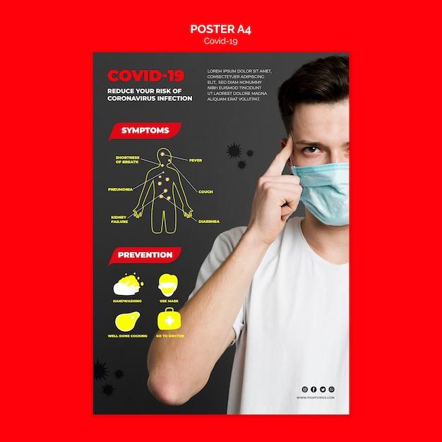 Coronavirus-verhinderungsplakatschablonenkonzept Kostenlosen PSD