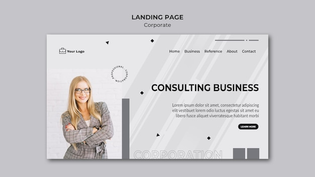 Corporate design landing page vorlage Premium PSD
