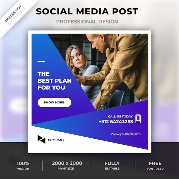 Corporate social media post Premium PSD