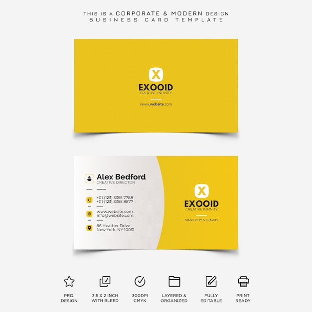 Corporate und moderne visitenkarte Premium PSD