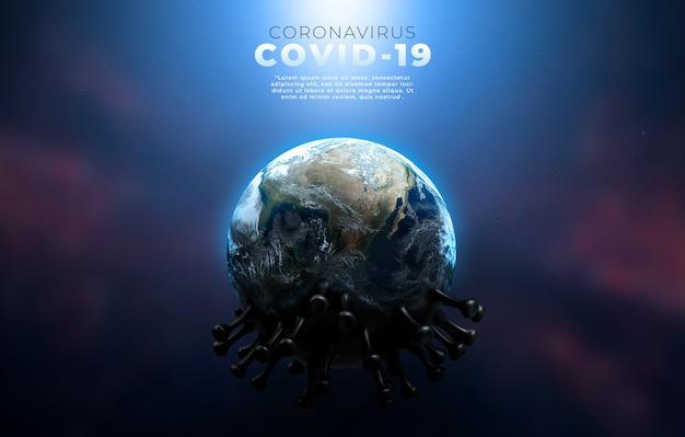 Covid-19, corona-krankheit-infektion medizinische illustration, die die struktur des epidemischen virus zeigt. Premium PSD