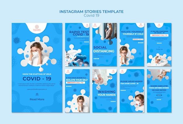 Covid-19 instagram geschichten sammlung Kostenlosen PSD