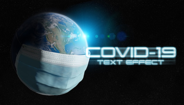 Covid-19-texteffekt mit isoliertem planeten erde, bedeckt von einer chirurgischen maske Premium PSD