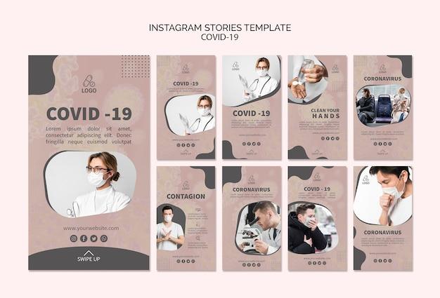 Covid-19 und mask instagram geschichten Kostenlosen PSD