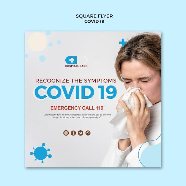 Covid19 quadratische flyer-konzeptvorlage Kostenlosen PSD