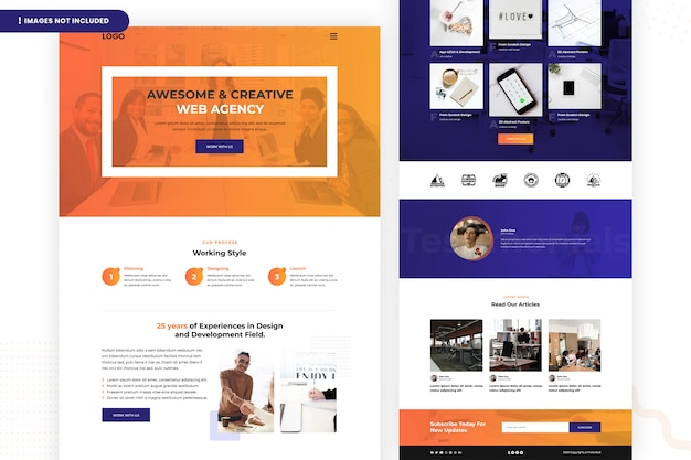 Creative web agency website seitenvorlage Premium PSD