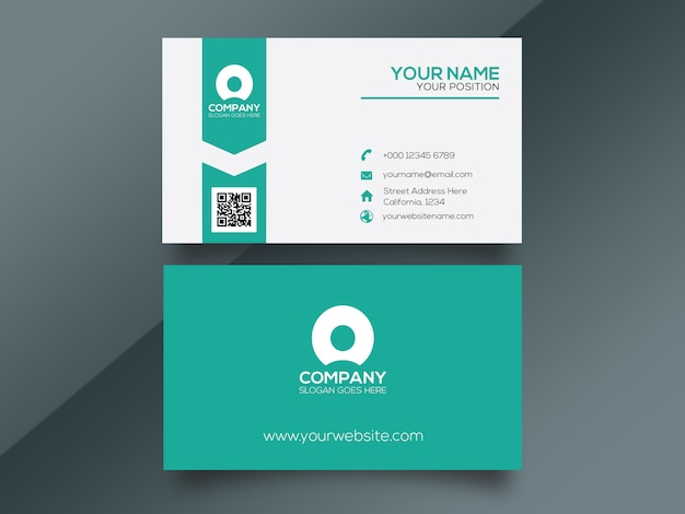Cyan einfache unternehmenskarte Premium PSD