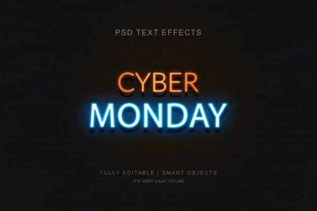 Cyber monday banner und photoshop neon text effekt Premium PSD