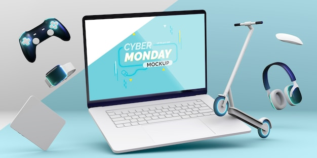 Cyber montag laptop verkauf modell mit anordnung verschiedener geräte Kostenlosen PSD