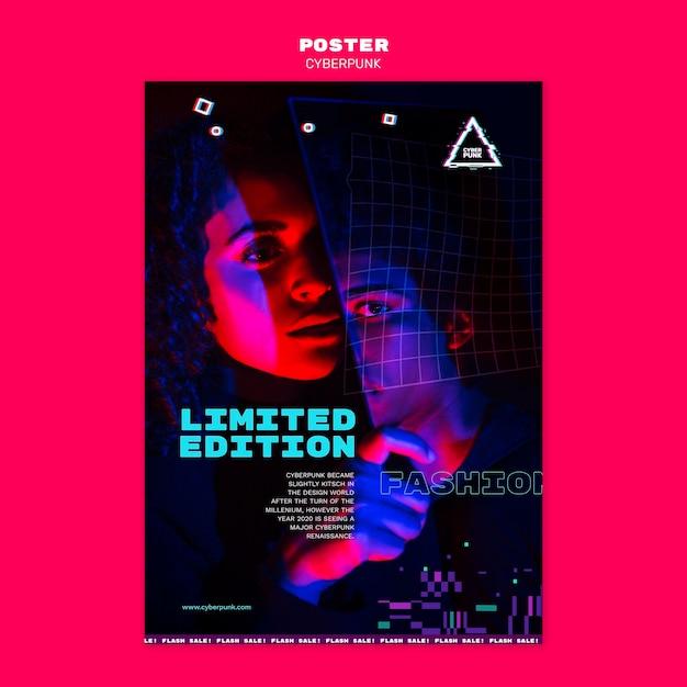 Cyberpunk futuristische plakatschablone mit foto Kostenlosen PSD