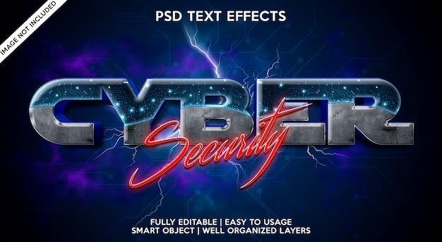 Cybersicherheits-texteffektvorlage Premium PSD