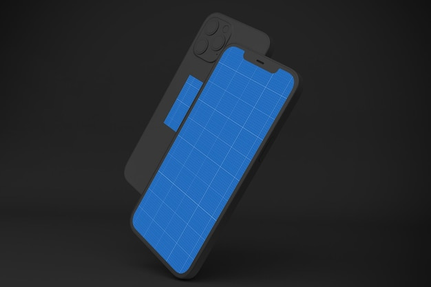 Dark smartphone 12 mockup, 3d-rendering Premium PSD