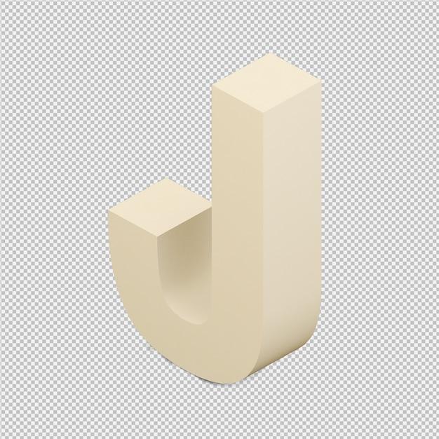 Das isometrische getrennte alphabet 3d übertragen Premium PSD