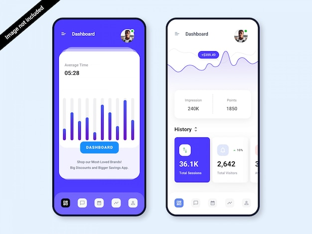 Dashboard app ui design Premium PSD