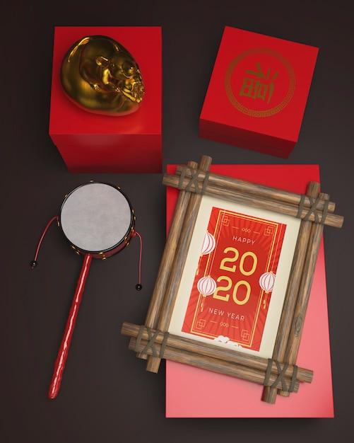 Dekorationen auf tabelle für chinesisches neues jahr Kostenlosen PSD