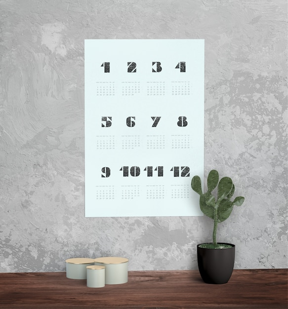 Dekorativer mock-up-kalender an der wand Kostenlosen PSD