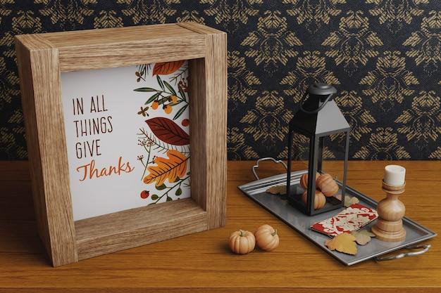 Dekorrahmen und arrangements für thanksgiving Kostenlosen PSD