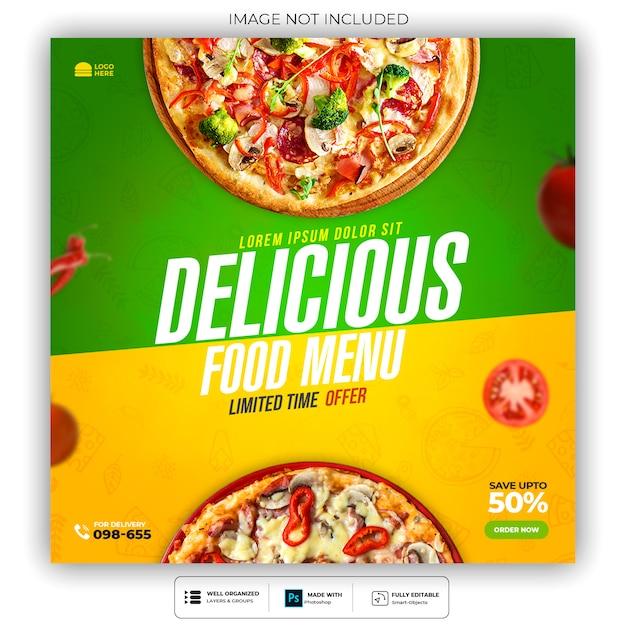 Delicious pizza restaurant social media banner vorlage Premium PSD