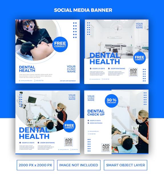 Dental health banner template set Premium PSD