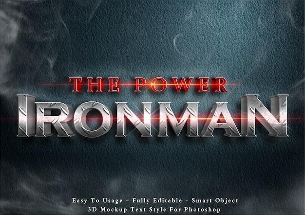 Der power ironman - 3d-textstil-effekt Premium PSD