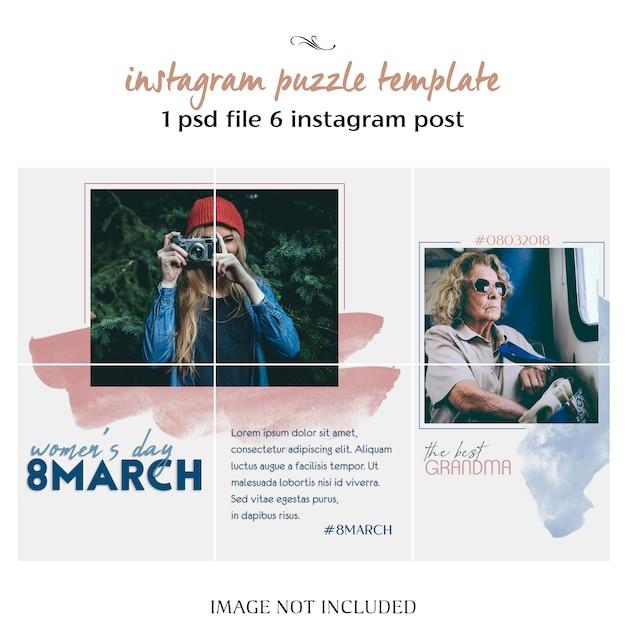 Der tag der glücklichen frauen und der 8. märz - begrüßung von instagram-puzzlespiel, raster oder collage-vorlage Premium PSD