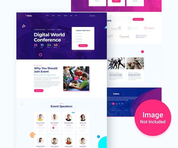 Design der digitalen event- und konferenzwebsite Premium PSD