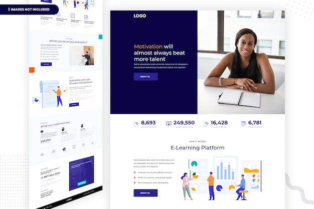 Design der e-learning-plattform-webseite Premium PSD