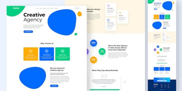 Design-modell der kreativagentur-website oder zielseitenvorlage Premium PSD