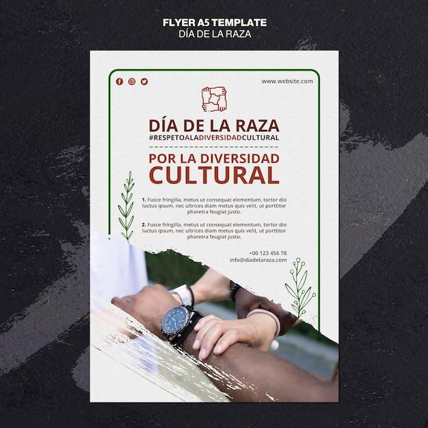 Dia de la raza flyer mit foto Kostenlosen PSD