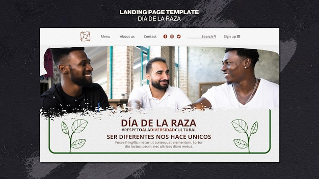 Dia de la raza landing page Premium PSD