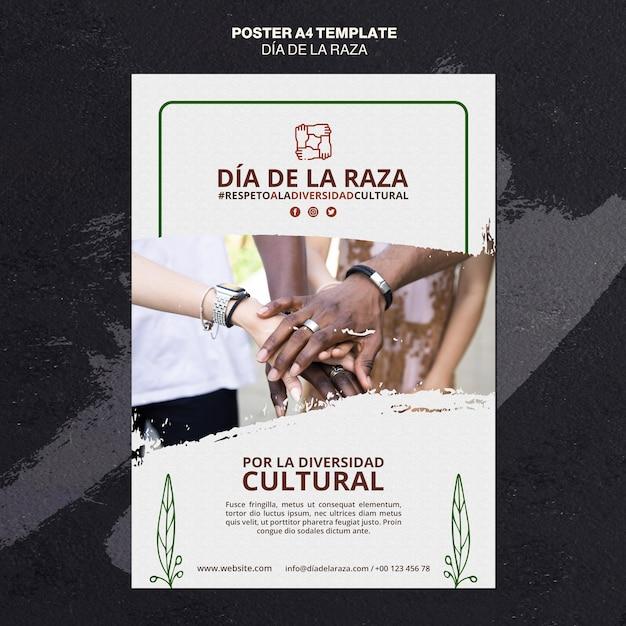 Dia de la raza plakatvorlage mit foto Kostenlosen PSD