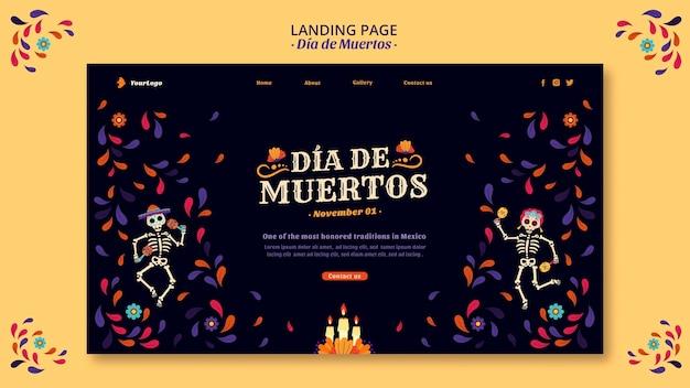Dia de muertos skelette und konfetti landing page Kostenlosen PSD