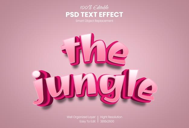 Die effektvorlage des dschungel-3d-textstils Premium PSD