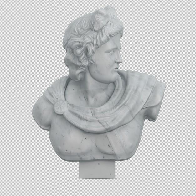 Die isometrische lokalisierte statue 3d übertragen Premium PSD