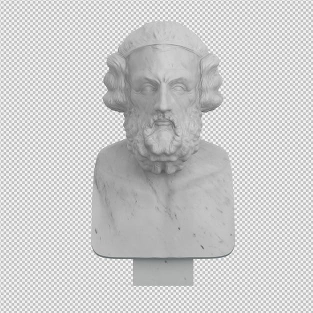 Die statue 3d des alten mannes, die lokalisiert wird, übertragen Premium PSD