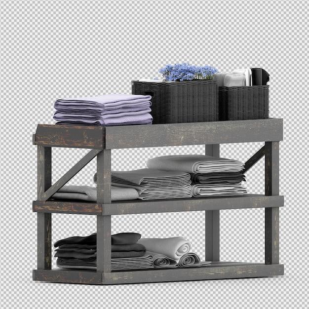 Die tücher auf einem holzregal 3d, das lokalisiert wird, übertragen Premium PSD