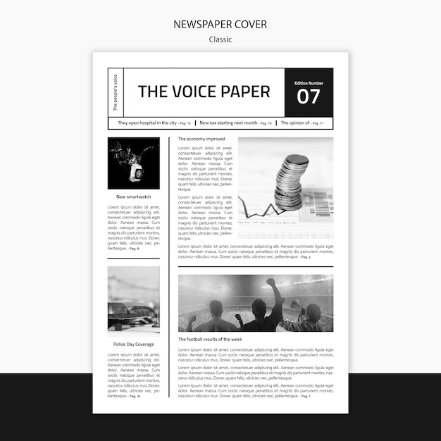 Die vorlage für das voice-zeitungscover Kostenlosen PSD