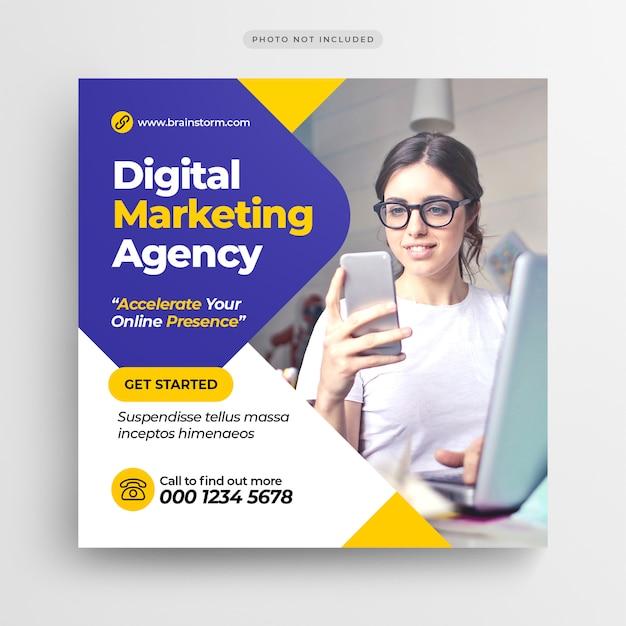 Digital business marketing-social media-fahne oder quadratischer flieger Premium PSD