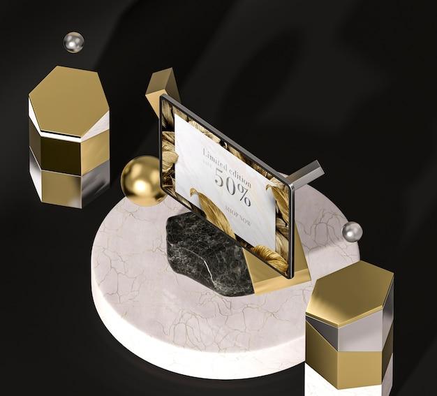 Digitale tablette mit hoher sicht der goldenen blätter Kostenlosen PSD