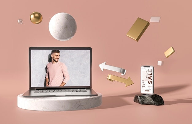 Digitales 3d-modell-tablet und smartphone Kostenlosen PSD