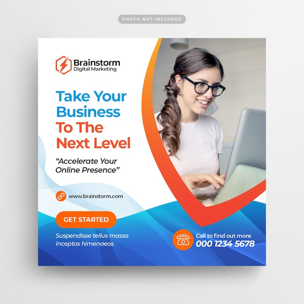 Digitales geschäftsmarketing social media post & web banner Premium PSD