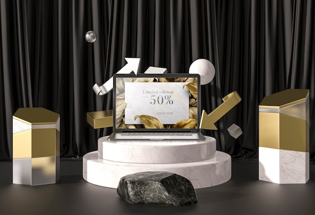 Digitales tablet mit goldenen blättern auf treppen Kostenlosen PSD