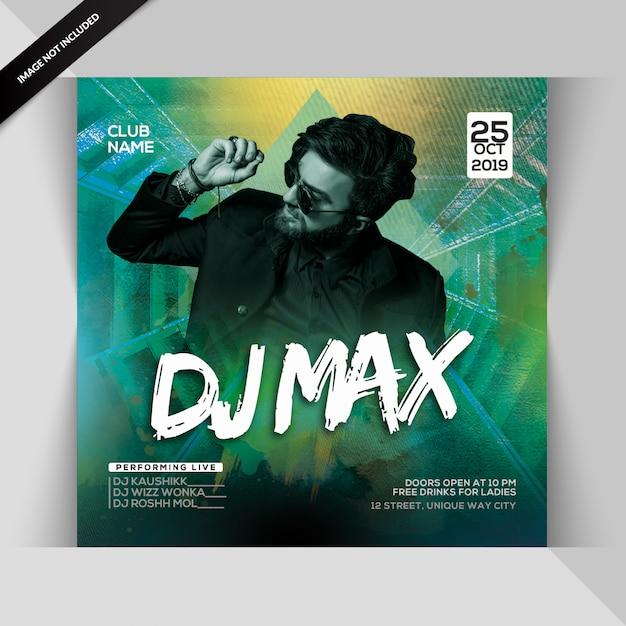Dj max night party flyer Premium PSD